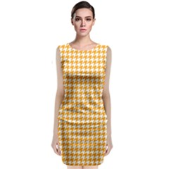 Friendly Houndstooth Pattern, Orange Classic Sleeveless Midi Dress
