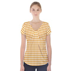 Friendly Houndstooth Pattern, Orange Short Sleeve Front Detail Top