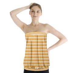 Friendly Houndstooth Pattern, Orange Strapless Top