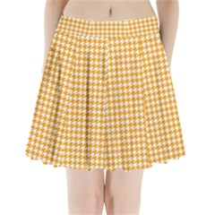 Friendly Houndstooth Pattern, Orange Pleated Mini Skirt