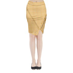 Friendly Houndstooth Pattern, Orange Midi Wrap Pencil Skirt