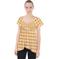 Friendly Houndstooth Pattern, Orange Lace Front Dolly Top