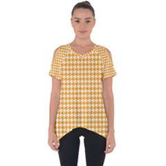 Friendly Houndstooth Pattern, Orange Cut Out Side Drop Tee