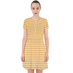 Friendly Houndstooth Pattern, Orange Adorable In Chiffon Dress