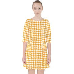 Friendly Houndstooth Pattern, Orange Pocket Dress