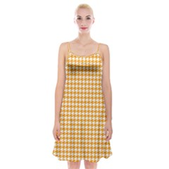 Friendly Houndstooth Pattern, Orange Spaghetti Strap Velvet Dress