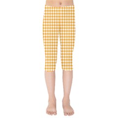 Friendly Houndstooth Pattern, Orange Kids  Capri Leggings