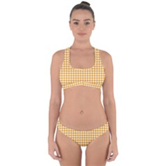 Friendly Houndstooth Pattern, Orange Cross Back Hipster Bikini Set