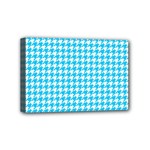 Friendly Houndstooth Pattern,aqua Mini Canvas 6  X 4