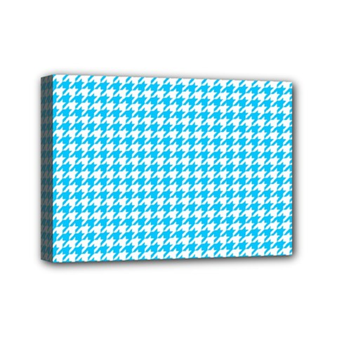 Friendly Houndstooth Pattern,aqua Mini Canvas 7  X 5