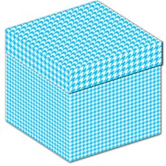 Friendly Houndstooth Pattern,aqua Storage Stool 12