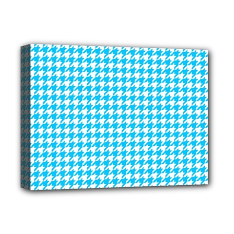 Friendly Houndstooth Pattern,aqua Deluxe Canvas 16  X 12