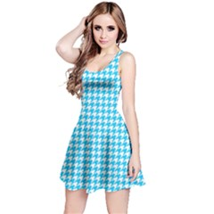 Friendly Houndstooth Pattern,aqua Reversible Sleeveless Dress