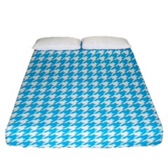 Friendly Houndstooth Pattern,aqua Fitted Sheet (queen Size)
