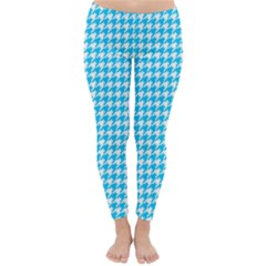 Friendly Houndstooth Pattern,aqua Classic Winter Leggings
