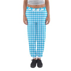 Friendly Houndstooth Pattern,aqua Women s Jogger Sweatpants