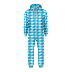 Friendly Houndstooth Pattern,aqua Hooded Jumpsuit (kids)