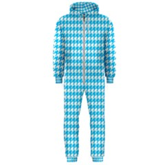 Friendly Houndstooth Pattern,aqua Hooded Jumpsuit (men)