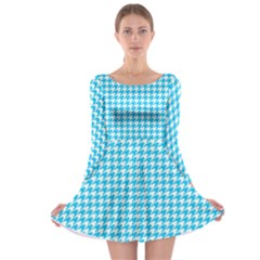 Friendly Houndstooth Pattern,aqua Long Sleeve Skater Dress