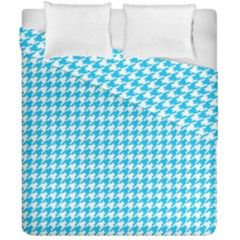 Friendly Houndstooth Pattern,aqua Duvet Cover Double Side (california King Size)