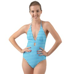 Friendly Houndstooth Pattern,aqua Halter Cut Out One Piece Swimsuit
