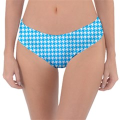 Friendly Houndstooth Pattern,aqua Reversible Classic Bikini Bottoms