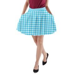 Friendly Houndstooth Pattern,aqua A Line Pocket Skirt