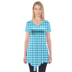 Friendly Houndstooth Pattern,aqua Short Sleeve Tunic