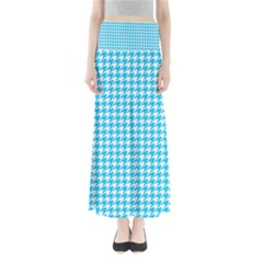 Friendly Houndstooth Pattern,aqua Full Length Maxi Skirt