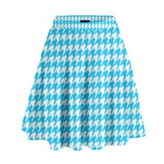 Friendly Houndstooth Pattern,aqua High Waist Skirt