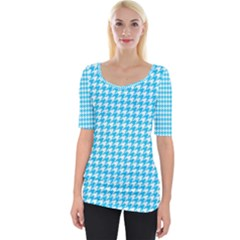 Friendly Houndstooth Pattern,aqua Wide Neckline Tee