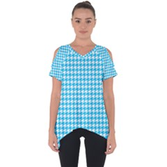Friendly Houndstooth Pattern,aqua Cut Out Side Drop Tee
