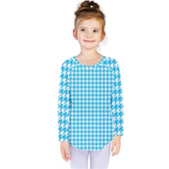 Friendly Houndstooth Pattern,aqua Kids  Long Sleeve Tee