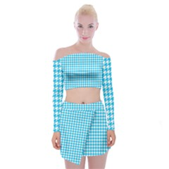 Friendly Houndstooth Pattern,aqua Off Shoulder Top With Skirt Set