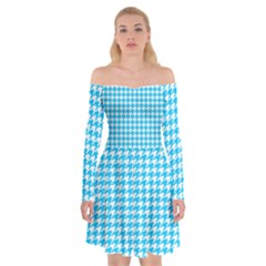 Friendly Houndstooth Pattern,aqua Off Shoulder Skater Dress
