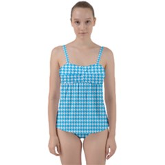 Friendly Houndstooth Pattern,aqua Twist Front Tankini Set