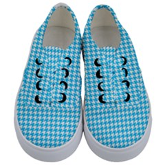 Friendly Houndstooth Pattern,aqua Kids  Classic Low Top Sneakers