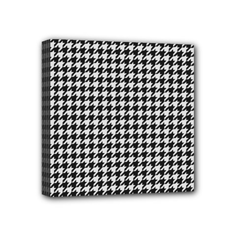 Friendly Houndstooth Pattern,black And White Mini Canvas 4  X 4