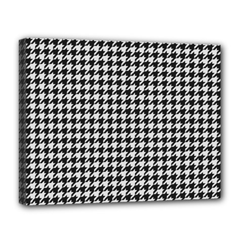 Friendly Houndstooth Pattern,black And White Canvas 14  X 11