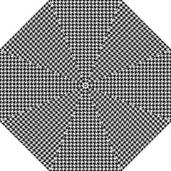 Friendly Houndstooth Pattern,black And White Folding Umbrellas
