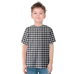 Friendly Houndstooth Pattern,black And White Kids  Cotton Tee