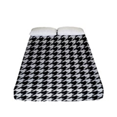 Friendly Houndstooth Pattern,black And White Fitted Sheet (full/ Double Size)