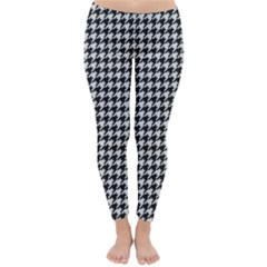 Friendly Houndstooth Pattern,black And White Classic Winter Leggings