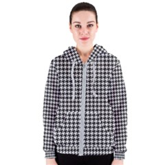 Friendly Houndstooth Pattern,black And White Women s Zipper Hoodie
