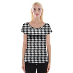 Friendly Houndstooth Pattern,black And White Cap Sleeve Tops