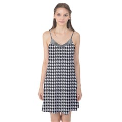 Friendly Houndstooth Pattern,black And White Camis Nightgown