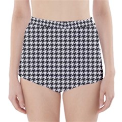 Friendly Houndstooth Pattern,black And White High Waisted Bikini Bottoms