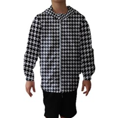 Friendly Houndstooth Pattern,black And White Hooded Wind Breaker (kids)