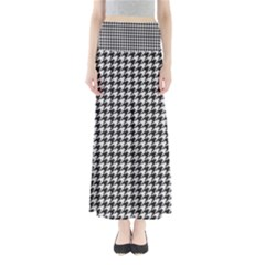 Friendly Houndstooth Pattern,black And White Full Length Maxi Skirt