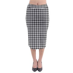 Friendly Houndstooth Pattern,black And White Midi Pencil Skirt